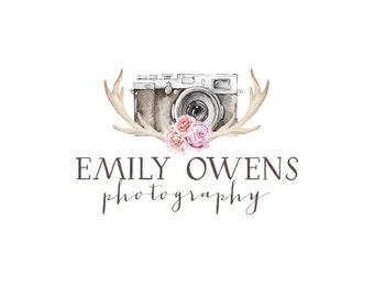 Photography logo and watermark, premade watercolor flowers logo design, bohemian logo, vintage tribal floral arrow logo custom design 224