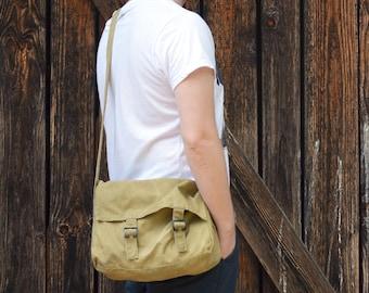 Yellow Army Messenger Bag, Vintage Shoulder Bag, Military Haversack, Military Messenger, Small Light Canvas Bag, Unisex Cross Body Bag