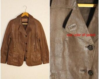 Leather Jacket Brown 90's Leather Jacket Vintage jacket biker jacket motorcycle jacket Spring Autumn Jacket Medium/Large Size