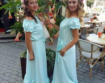 prom dress wedding dress festive bridesmaids  wedding guest dress Blue Sky, летнее платье,ruffle dress long dress, summer dress