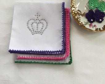 Pretty Ladies Handkerchief, Crochet Lace, White Cotton Handkerchief for a Woman , Hankerchief, Hankie, Hanky