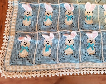 Crochet Blue Baby Blanket with bunny, rabbits for little boy/ Easter Bunny. Custom order avalable