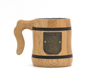 Game of Thrones House Mormont of Bear Isle Sigil, Here We Stand Personalized Wooden Beer Mug Tankard Stein GOT Beer Cup Lords of Bear Island