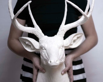Fake Deer Head, Custom Color, Faux Taxidermy, Modern Home Decor
