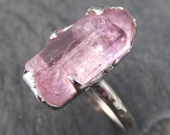 Raw Rough Pink Topaz white Gold Ring One Of a Kind Gemstone Ring Recycled gold byAngeline 0122