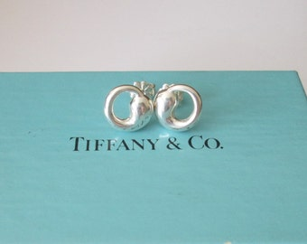 Authentic Tiffany Sterling Silver Eternal Circle Earrings with Tiffany Box