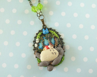 My Neighbor Totoro - Totoro and Mei Cameo - Totoro Necklace - Totoro Jewelry - Polymer Clay Jewelry - Polymer Clay Necklace