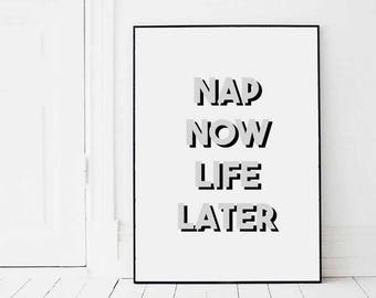 Nap Now Life Later Print - Eddie and The Giant Peach