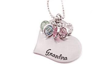 Personalized Grandma Necklace - Engraved Jewelry - Grandma Heart Necklace - Gift Grandma - Personalized Jewelry - Christmas Grandma - 1357