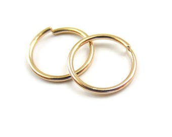 Small Gold Hoop Earrings Cartilage Earrings 16Gauge or 18Gauge or 20G, 10mm Nickel Free, One Pair