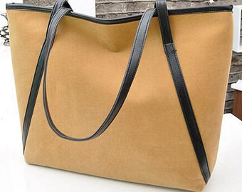 Camel Color Leather Strap casual tote - Monogramming available