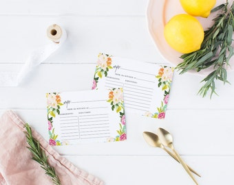 Printable Bridal Shower Recipe Card, Printable Recipe Cards, Bridal Party  - Savannah Rose