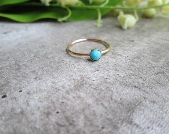 Turquoise stacking ring, gold, free gift wrap, genuine gemstone, layering, dainty tiny, solitaire, minimalist, rose cut gemstone