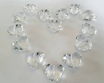 50 Acrylic Beads Heart Shaped Beads/ Wedding Decor/Craft Supplies