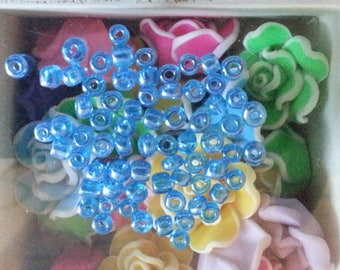 10 beads in opaque glass seed colors, blue, about 4 mm in diameter, hole: 1 mm