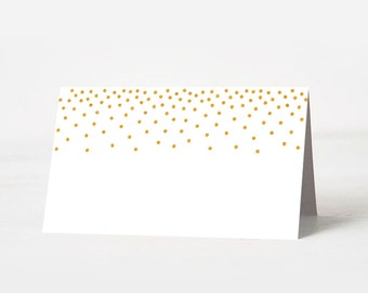 Gold Printable Food Tent Cards, Gold Printable Place Cards, Gold Dots Printable Food Tent Cards & Place Cards, Gold White Party Decor