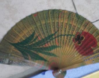 Rose Fan,Hand Fan,Marbling Fan,Natural watercolor Ebru Fan, Wedding Favor,