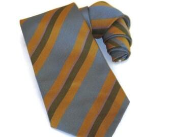 70s Wide Necktie Wide Striped Tie 70s Neckwear Gold Blue Tie Gold Blue Stripes 1970s Wide Tie Vintage Wide Tie