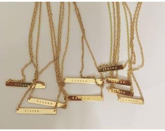 GOLD Word Bar Necklace — custom monogram name metal hand stamped gold personalized / upper case + lower case options - nashville mom gift