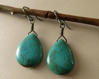 Turquoise dyed howlite teardrop shaped earrings