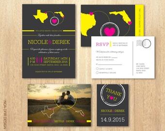 State Wedding Invitation set, Map Invitation, Modern invitation, Gray invite, Printable DIY Invitation, RSVP, Save The Date, Thank You Card