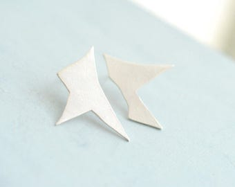 Ready to Ship, Mismatched Studs, Abstract Earrings, Silver Architectural Jewelry