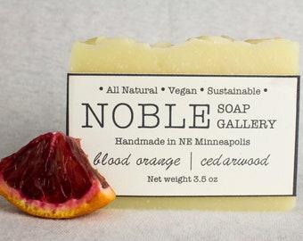 Blood Orange/Cedarwood Soap - Vegan Soap - All Natural, Vegan, Sustainable, Cold Process, Blood Orange, Cedarwood