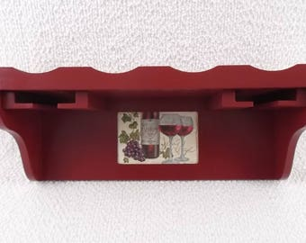 Wine Rack Wine Storage Wine Holder Wine Bottle Holder Glass Rack Glass Holder Wood Wall 4 Bottle Cranberry Red Hand Painted Decoupage