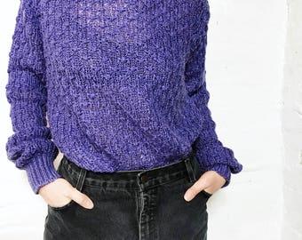 Purple Loose Weave Sheer Sweater