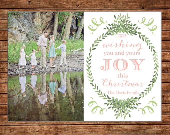 Christmas Holiday Photo Card Watercolor Wreath Greenery - Can Personalize - Printable File or Printed Cards