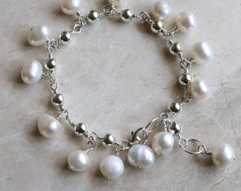 Freshwater Pearl - Oval Bead - Sterling Silver - 925 - Link - Boho - Cha Cha  Bracelet - Bohemian - Charm Bracelet - Lobster Clasp