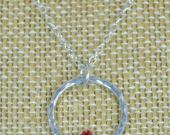 Sterling Silver Garnet Necklace, Mothers Necklace, Mom Necklace, January Birthstone Necklace, Garnet Necklace, Mother's Necklace, Garnet