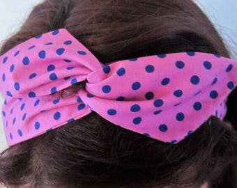 Pink blue polka dot bendy wire headband, hair accessory