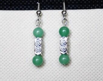 Earrings with Green Aventurine gemstones