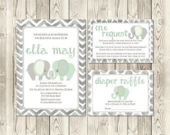 Mint + Grey Elephant Baby Shower Invitation Set