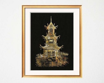 Chinoiserie Art Print, Gold Pagoda, Gold Black Decor, Palm Beach Chic Wall Art, Hollywood Regency, Gold Pagoda Print, Gold Black Wall Art