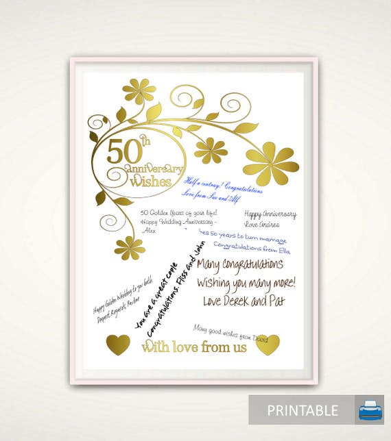 50th Anniversary Print 50th Anniversary Gifts for Parents