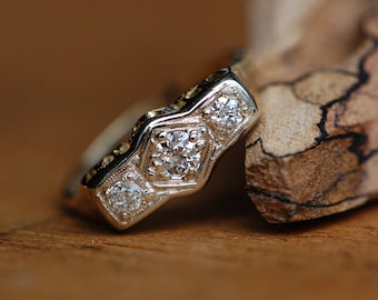 Vintage Art Deco Old Mine Cut triple diamond engagement or stacking band