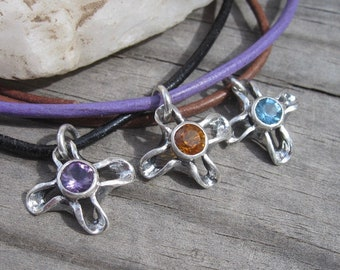 Petite flower cross pendant sterling silver with gemstone