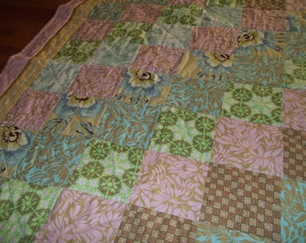 Patchwork Quilt Throw,  Shabby Chic, Lap Quilt, Amy Butler Quilt, Patchwork Lap Quilt, French Country, Boho, Pink & Green Quilt