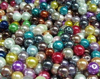 3000 Pearly multicolor 8 mm hole 1 mm glass beads