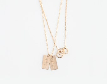 Hand Stamped Double Layer Necklace - Petite Initial Tags & Multi Rings - 14k GOLD Filled or Sterling Silver - La Famille