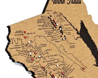 Napa Wine Trail Map // Wineries and Vineyard Art // Laser Cut Cork Artwork // California Souvenir // Bridesmaid Gift  // Wine Lover