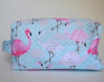 Ready to Ship! Flamingos Knitting & Crochet Project/Toiletry Box Bag