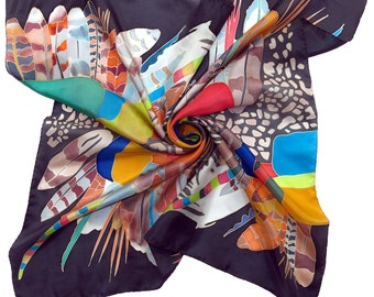 Silk scarf Africa dance in Night. Hand painted silk scarf. Hand made black scarf, yellow, blue, red painted scarf Black scarves. Hand-rolled