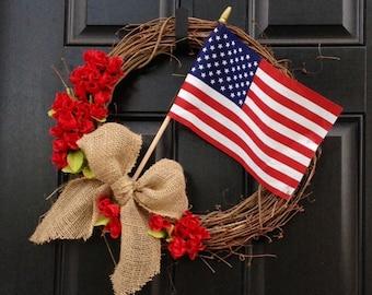 RED/WHITE/BLUE - Patriotic Wreath