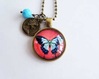 Butterfly Necklace - Art Pendant - Blue And Black Butterfly Pendant - Custom Jewelry - Art Jewelry - Customized - Nature Insect Necklace