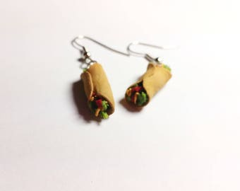 Burrito earrings. Hand sculpted food jewelry, dollhouse miniature burrito jewelry, food earrings, dangle earrings