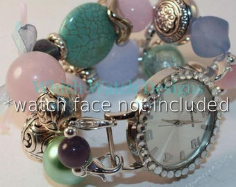 Arm Candy.. Sweet Pastel Pink, Mint Green and Periwinkle Interchangeable Beaded Watch Band
