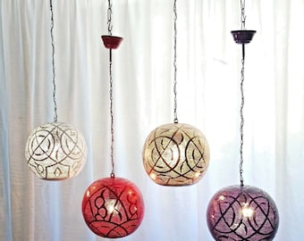 B264 Tin Mosaic Moroccan Children Color Cheerful Ball Lampshade Hanging Lamp